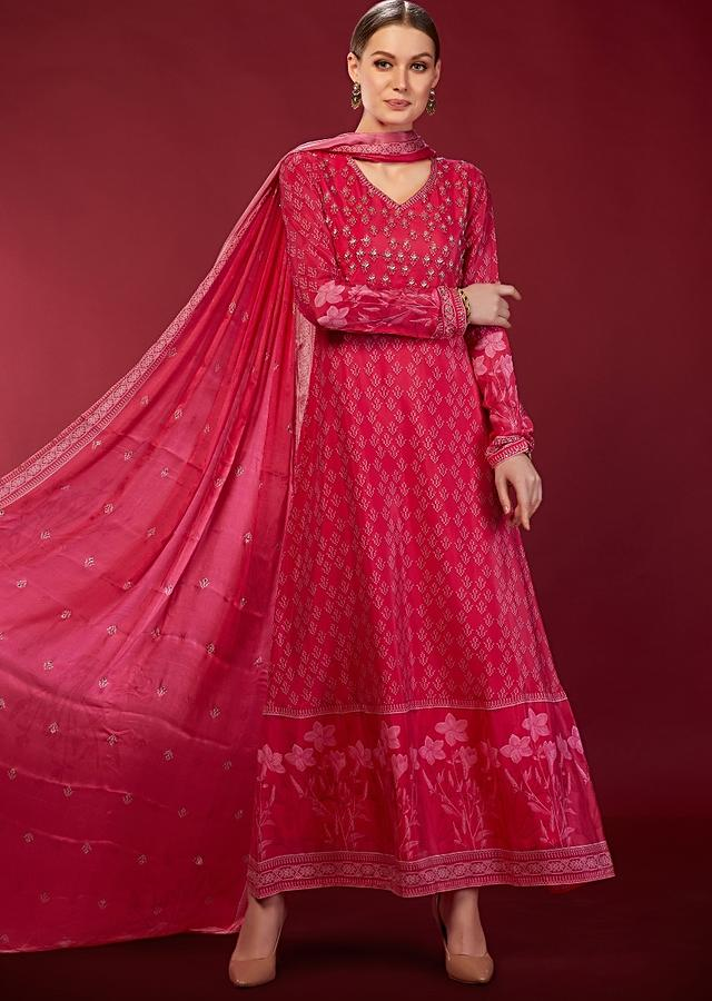 Rouge Pink Anarkali Suit In Crepe With Printed Floral Motifs And Subtle Embroidery Work On The Bodice Online - Kalki Fashion