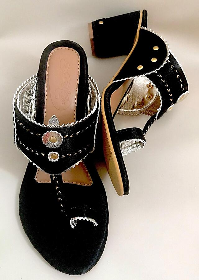 Royal Black Kolhapuri Heels In Satin With Gold Braiding And Button Details By Sole House