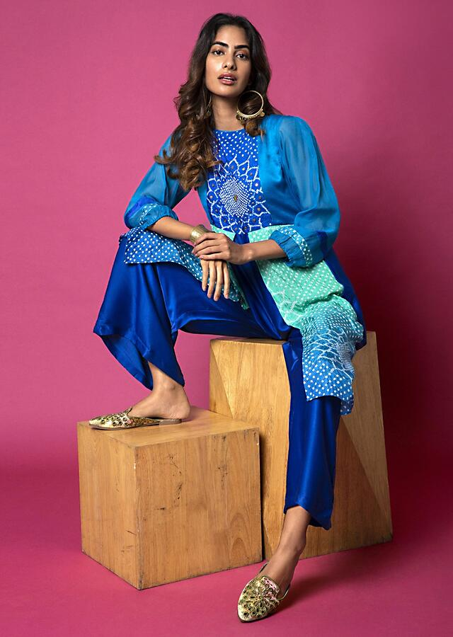 Royal Blue And Lime Green Paneled Jumpsuit With Bandhani Design And Hand Embroidery Online - Kalki Fashion