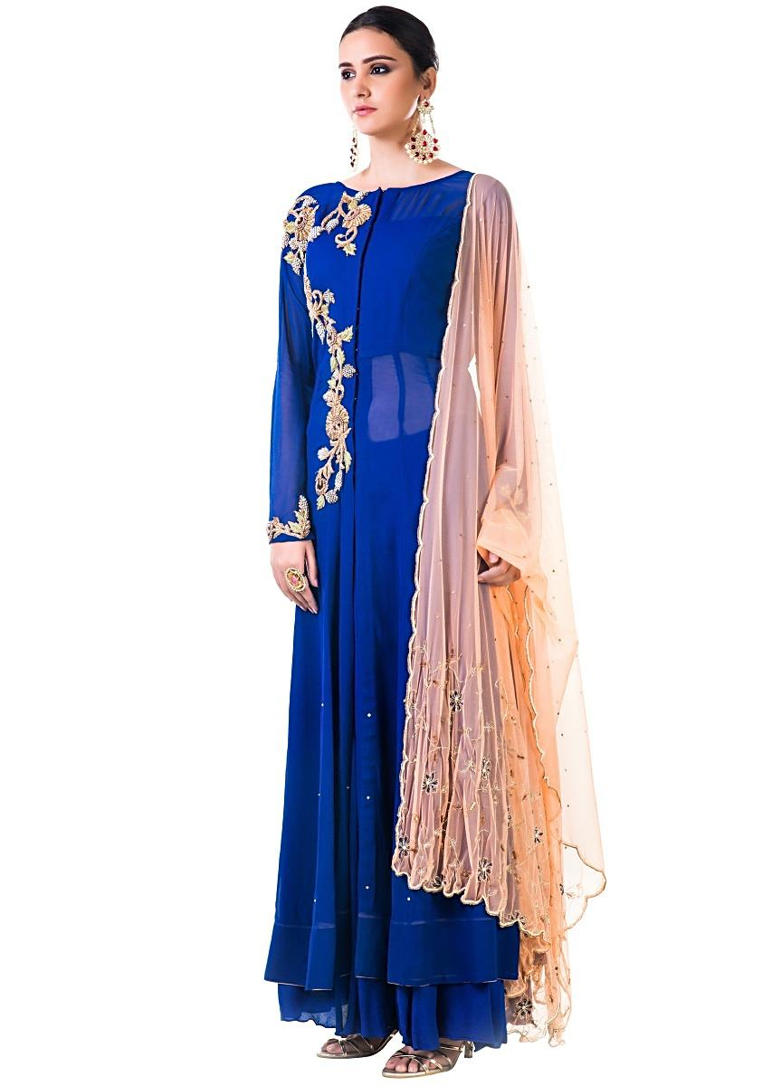 83d43c811d Blue Georgette Suit with Chiffon Sharara and Orange DupattaMore Detail