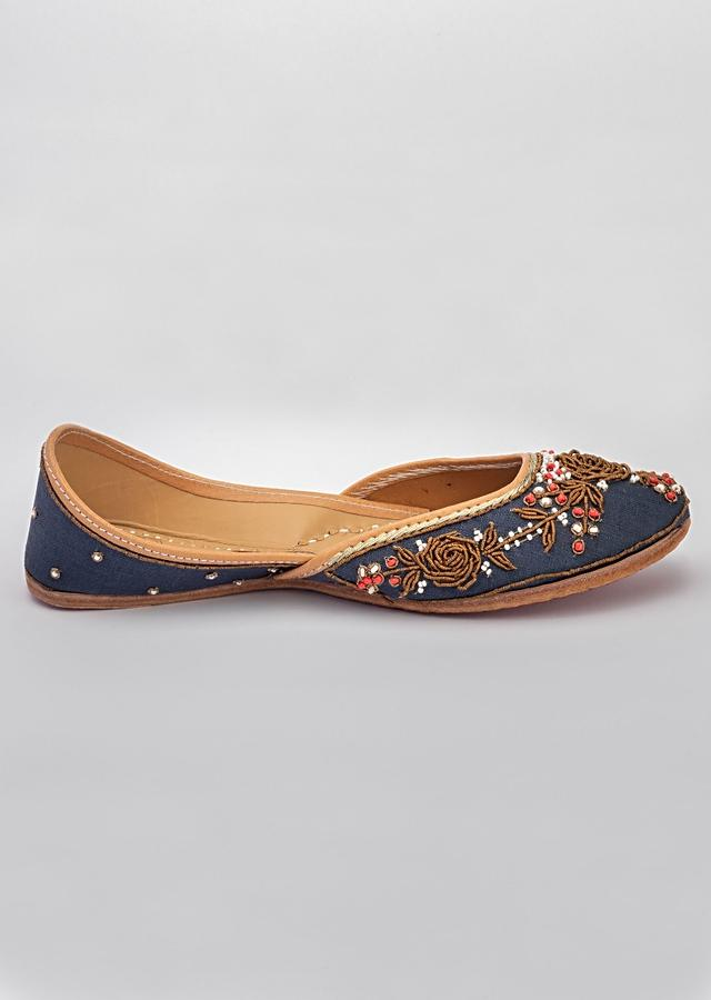 Royal Blue Juttis In Heavy Linen Adorned In Antique Finished Zardosi Roses And Pearl Work By Vareli Bafna