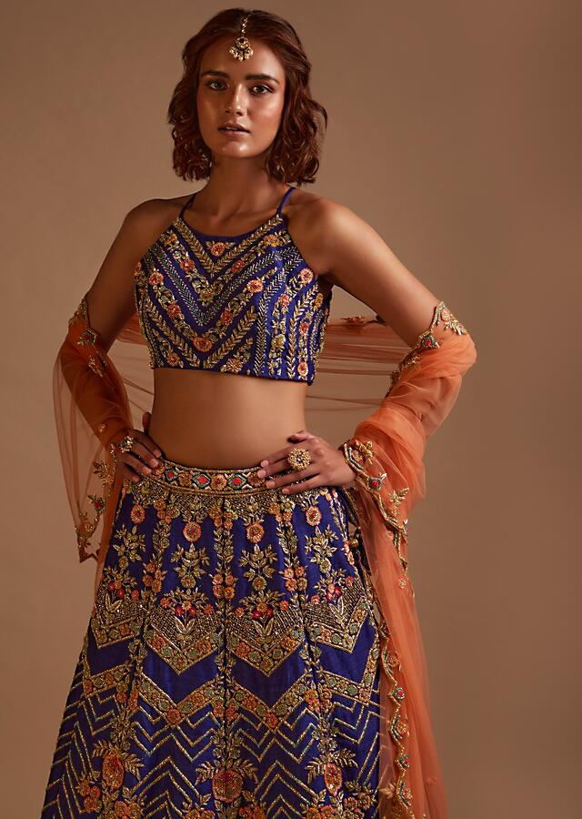 Royal Blue Lehenga Choli In Raw Silk Hand Embroidered With Cut Dana And Colorful Sequins In Chevron And Floral Motifs Online - Kalki Fashion