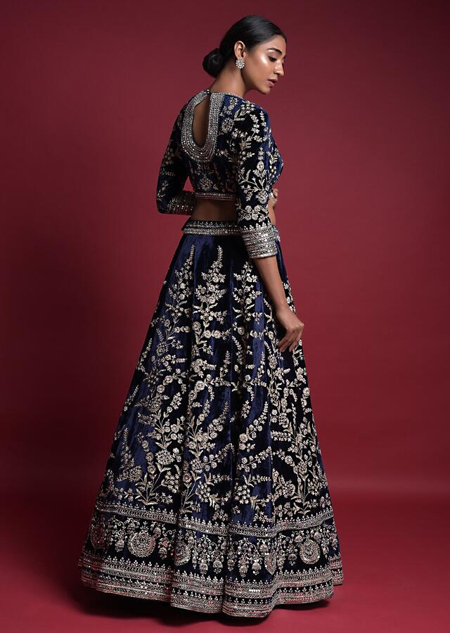 Royal Blue Lehenga Choli In Velvet Hand Crafted In Zardozi Embroidered Floral Pattern Online - Kalki Fashion