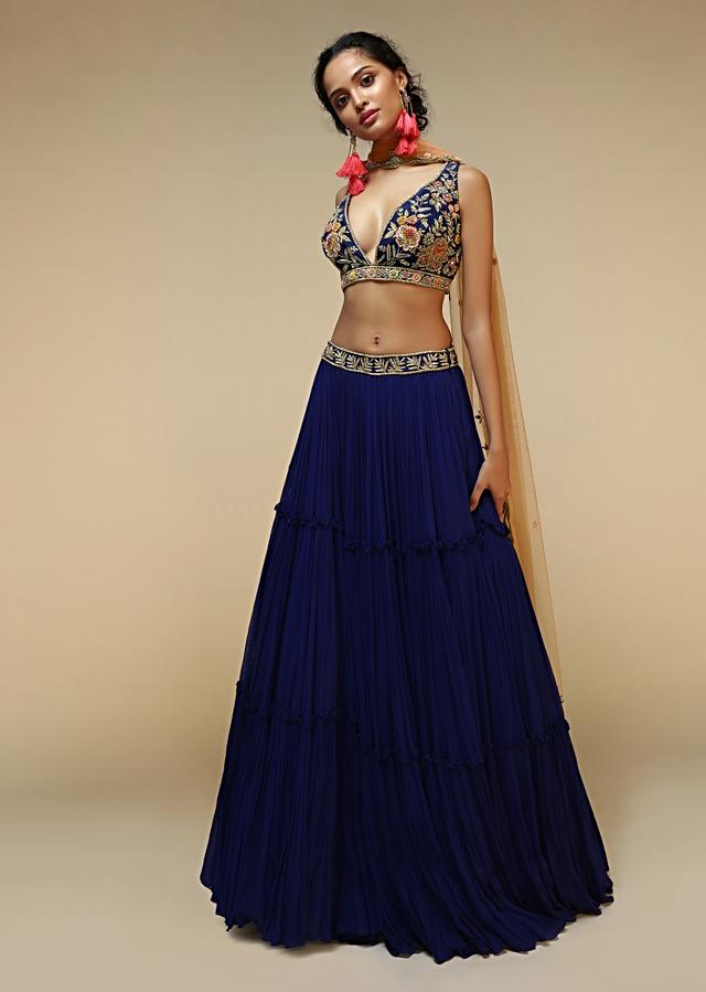 Royal Blue Lehenga Choli With Plunging Neckline And Hand Embroidered Using Multi Colored Beads And Resham Online - Kalki Fashion