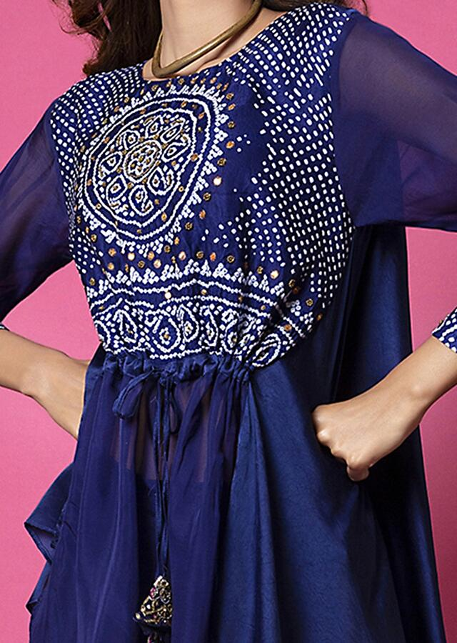 Royal Blue Palazzo Suit With Sheer Panel And Adorned In Bandhani And Hand Embroidery Online - Kalki Fashion
