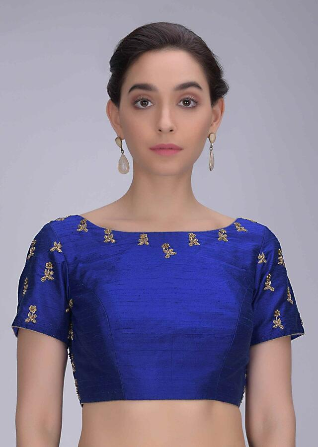 Royal Blue Blouse In Embellished Raw Silk Online - Kalki Fashion