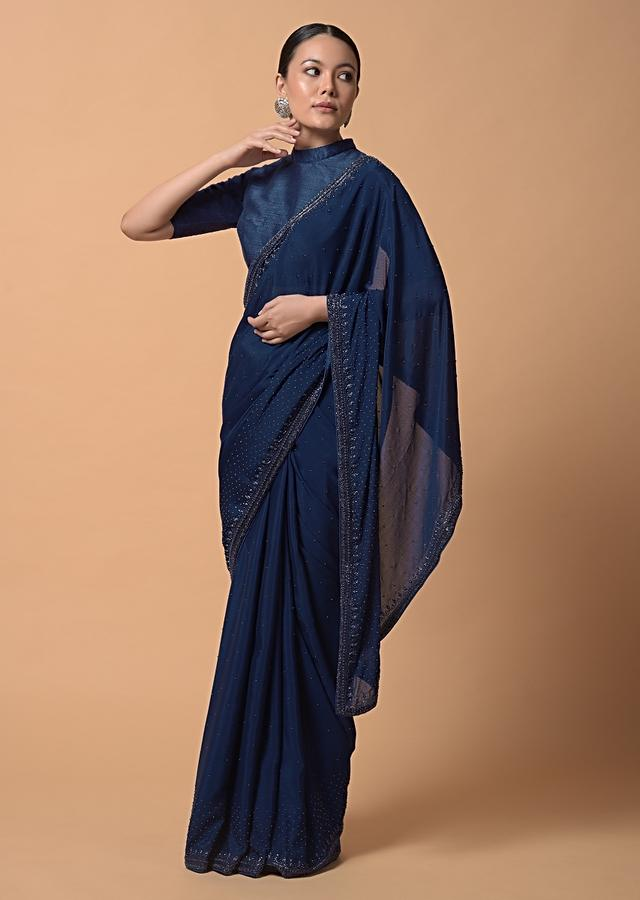Royal Blue Saree In Chiffon With Scattered Moti Beads And Cut Dana Embellished Border Online - Kalki Fashion