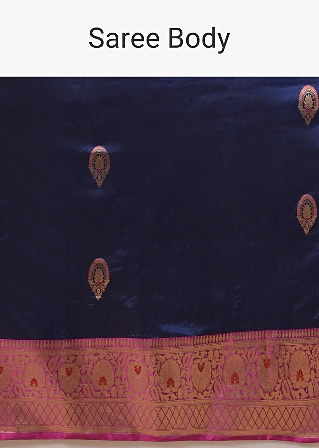 Royal Blue Saree In Pure Handloom Silk With Woven Floral Buttis And Rani Pink Floral Border Online - Kalki Fashion