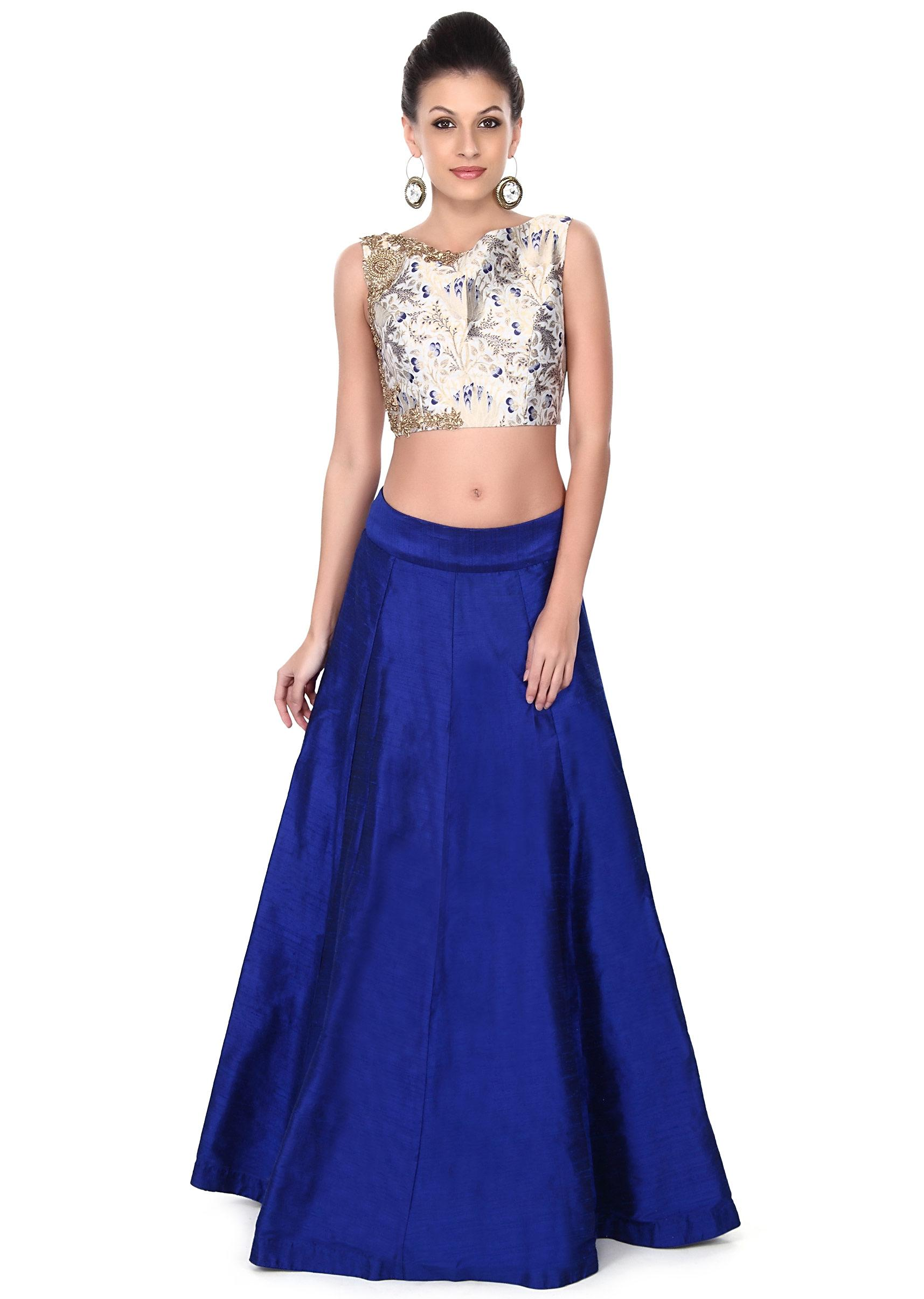 eb586727dce13 Royal blue skirt with brocade crop top only on KalkiMore Detail