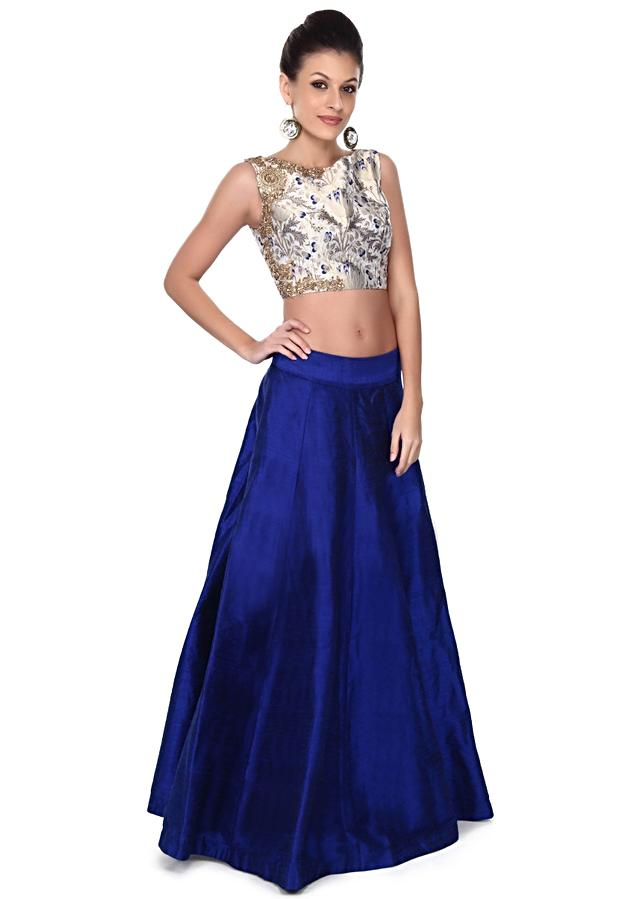Royal blue skirt with brocade crop top only on Kalki