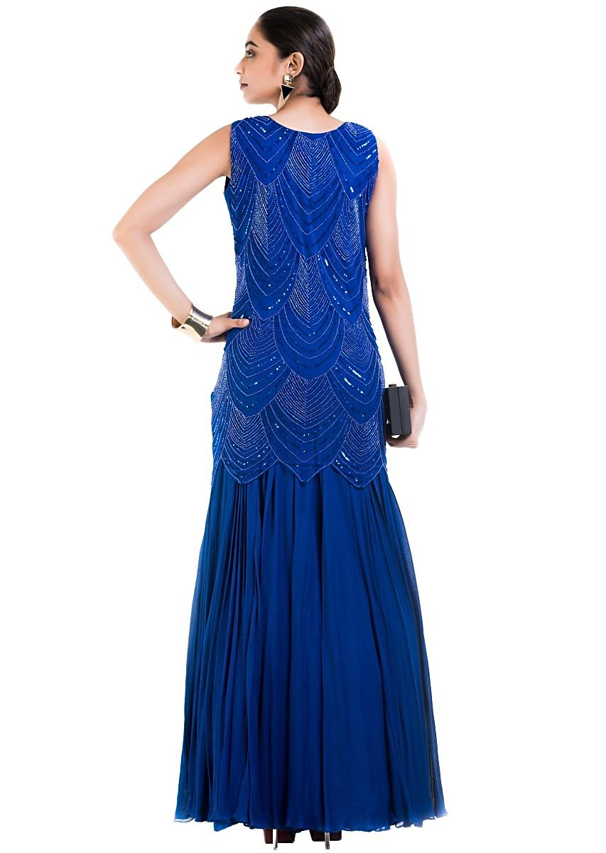 ccb90c404214 Royal Blue Sleeveless Long GownMore Detail