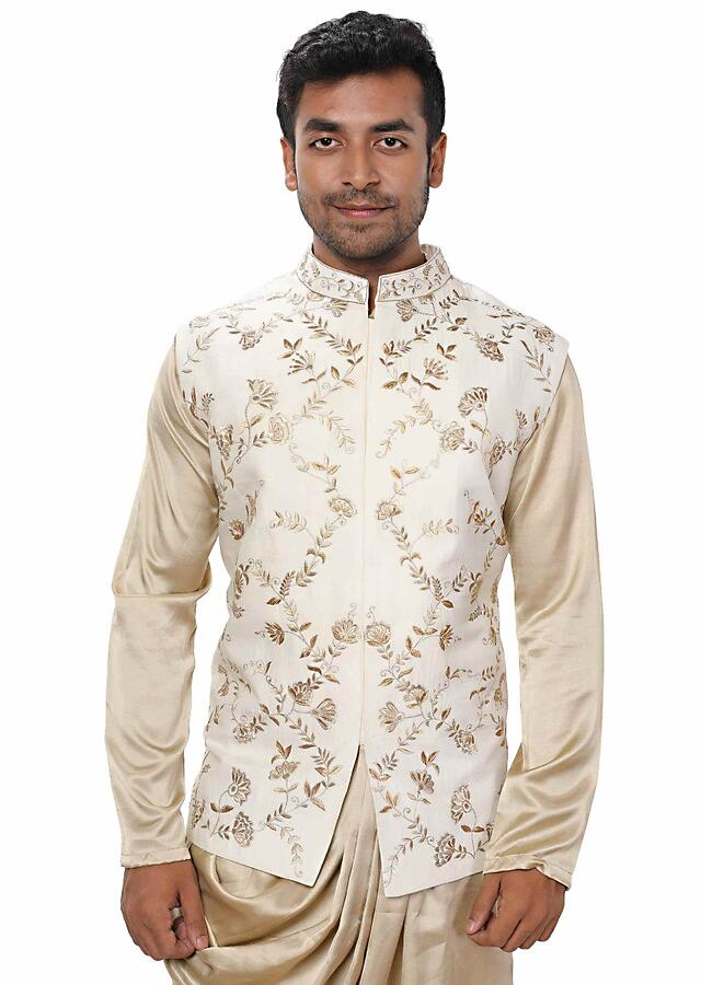 Royal Gold Kurta Set Wit Hcowl Drape Paired With A White & Gold Embroidered Jacket Online - Kalki Fashion