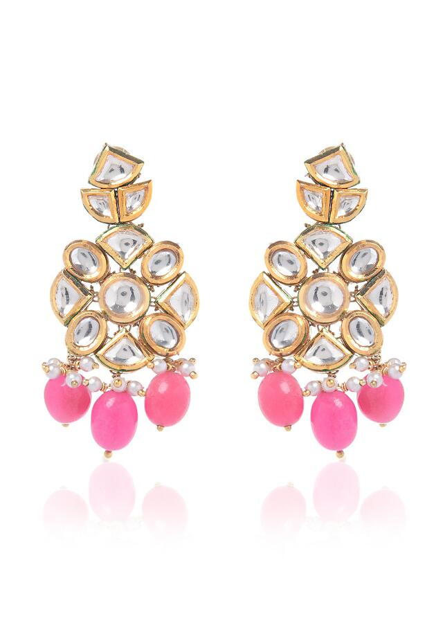 Royal Indian Beaded Earrings Featuring Dangling Pink Stones And Kundan Arranged In Floral Motif By Paisley Pop