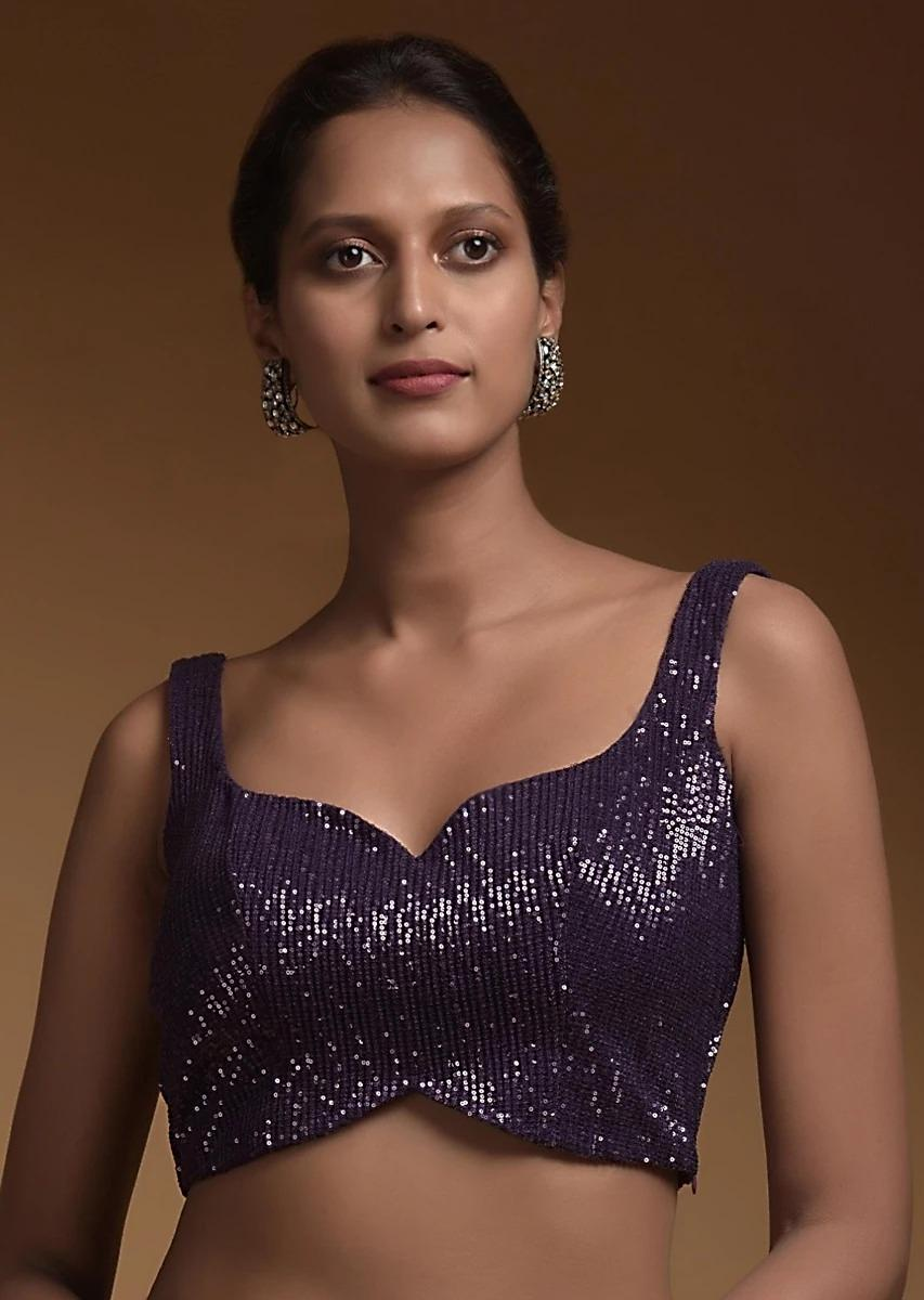 Royal Purple Crop Top In Crushed Sequins Fabric With Sweetheart Neckline Online - Kalki Fashion