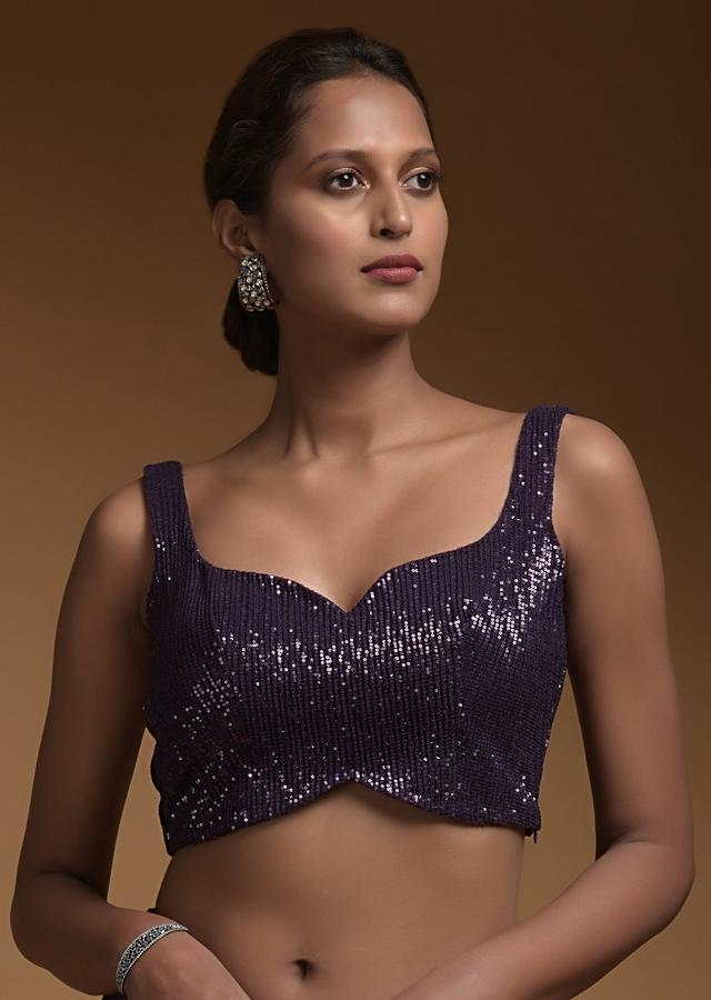 Royal Purple Ready Pleated Saree In Crepe With An Attached Pallu In Crushed Sequins Fabric And Ruffle Hem Online - Kalki Fashion