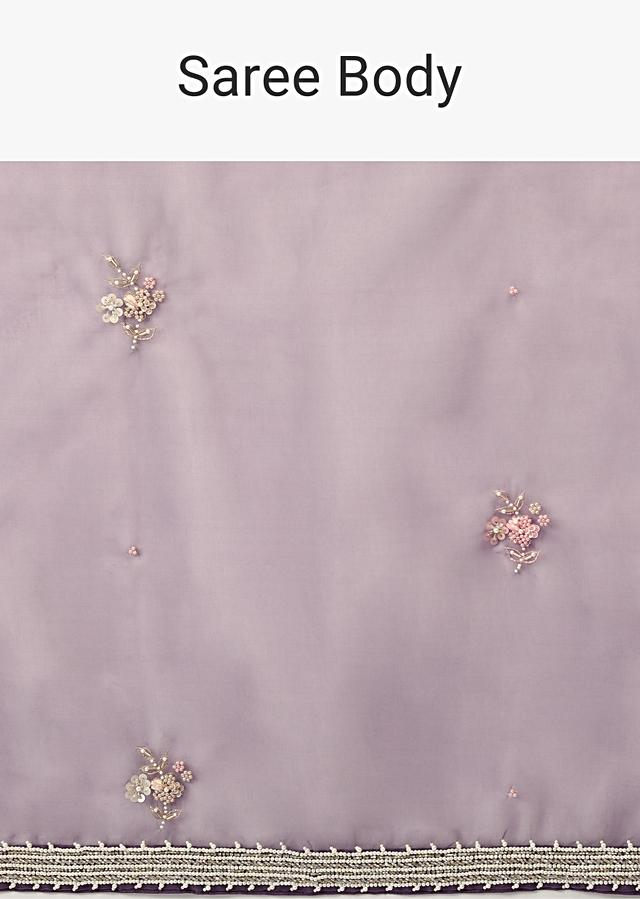 Royal Purple Saree In Organza With Moti, Resham And Cord Embroidered Floral Motifs On The Pallu Online - Kalki Fashion