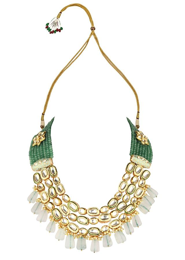 Royal Splendour Green Necklace And Earrings Set With Kundan, Agate Beads And Shell Pearls Online - Joules By Radhika