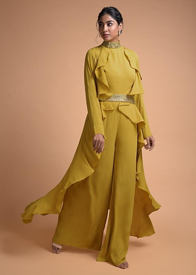 Royal Yellow Jumpsuit And Fancy Long Jacket With Ruffles And Embellished Belt Online - Kalki Fashion