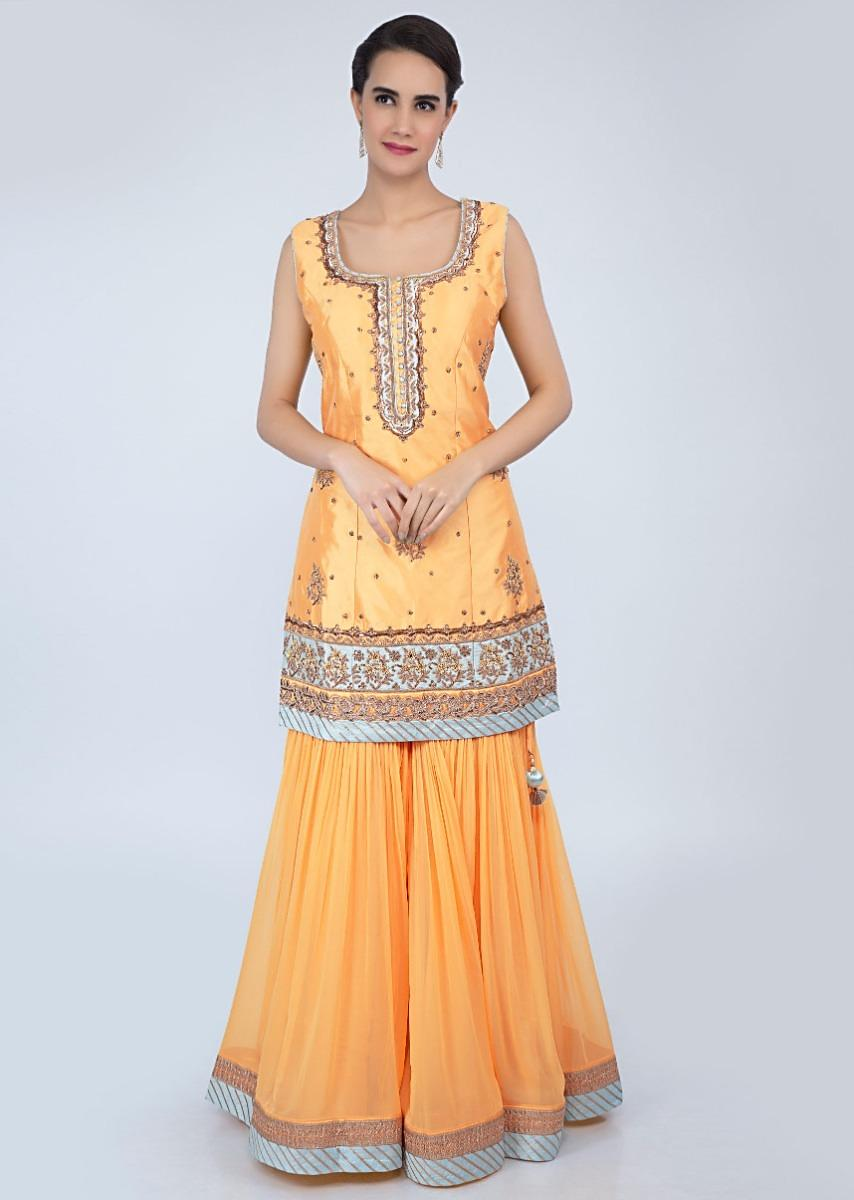 fab650e264 Royal yellow sharara suit set with embroidery and butti-only on KalkiMore  Detail