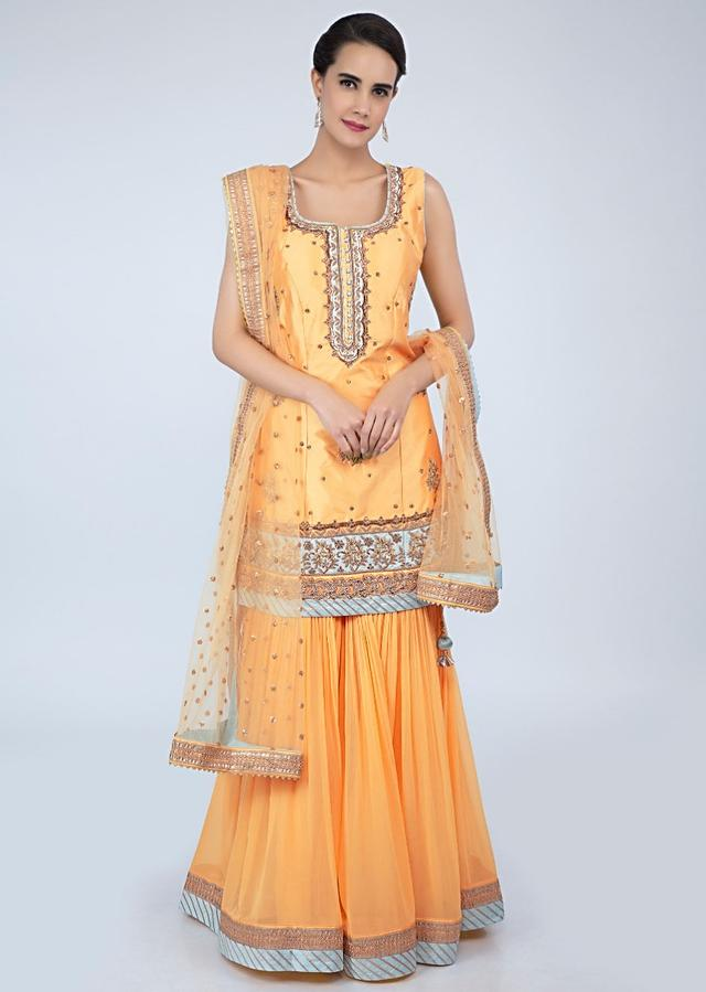 Royal Yellow Sharara Suit Set With Embroidery And Butti Online - Kalki Fashion