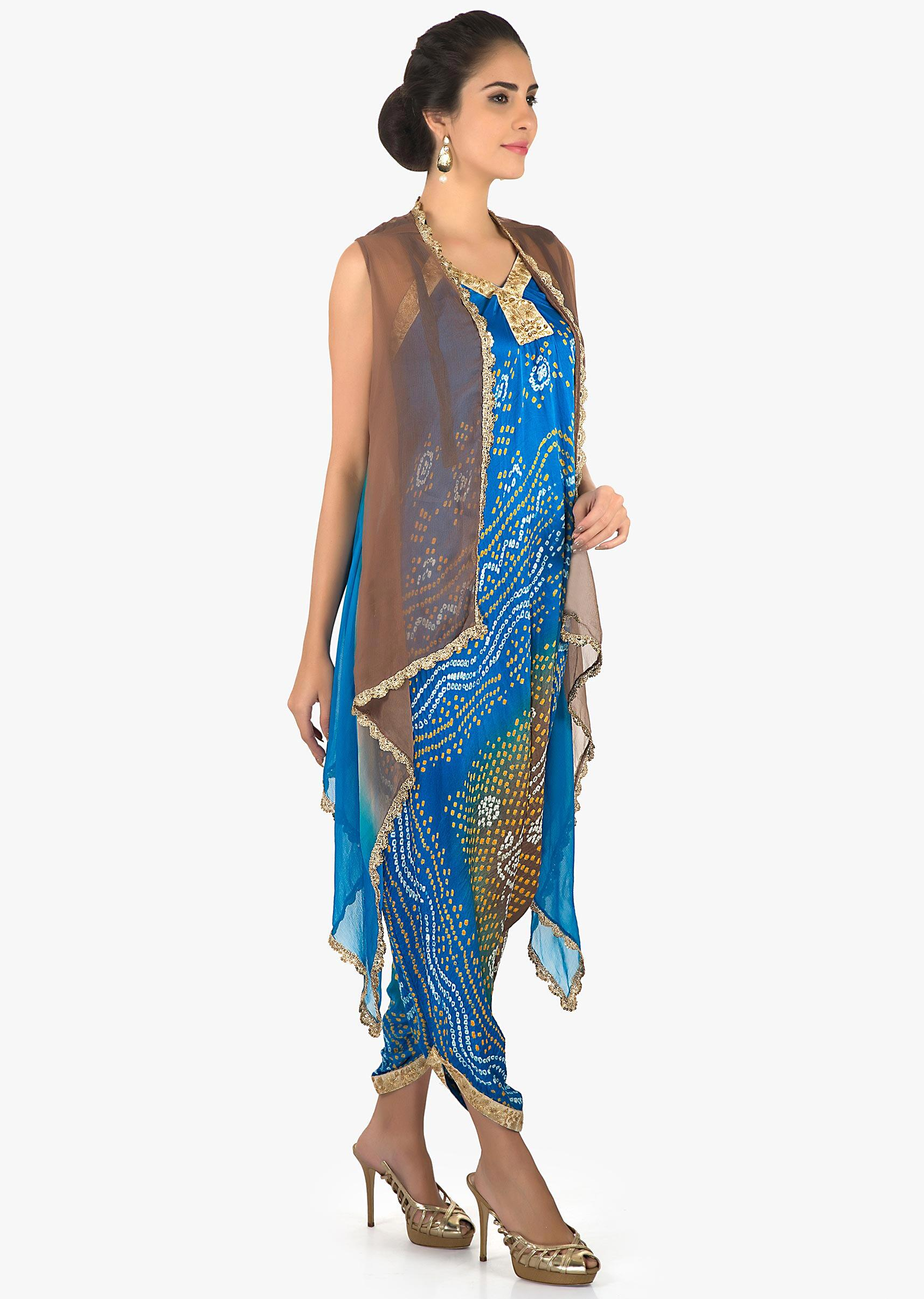d622f99e3805 Royal blue and brown bandhani jumpsuit with jacket only on Kalki