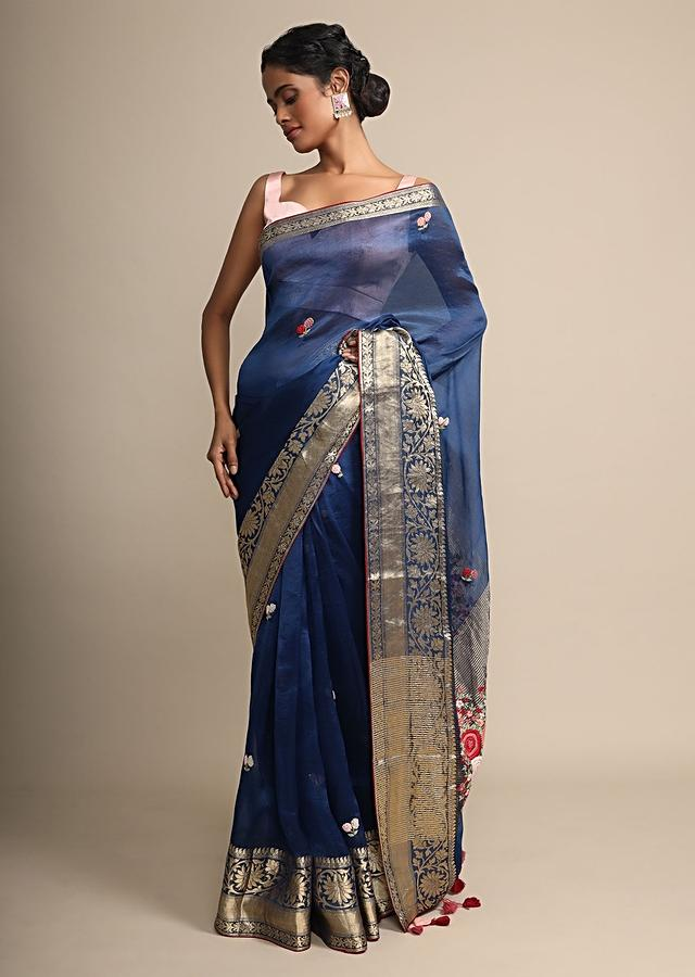 Royal Blue Organza Saree With Floral Embroidered Butti Online - Kalki Fashion