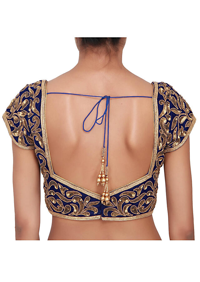 Royal blue velvet blouse embellished in gold zardozi work all over only on Kalki