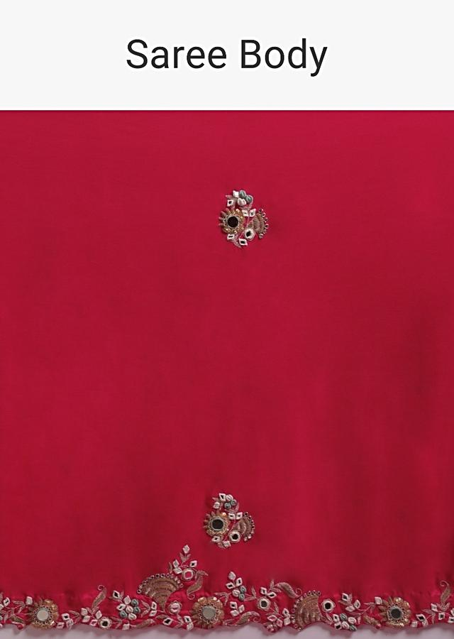 Ruby Pink Saree In Satin Silk With Bud Embroidery And Mirror Work Online - Kalki Fashion