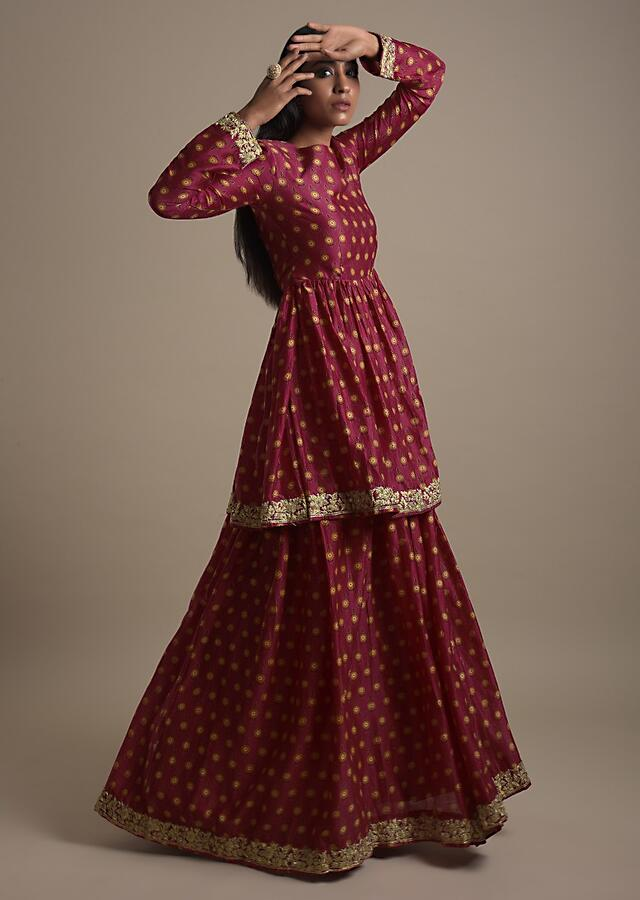 Ruby Pink Skirt With Peplum Kurti In Cotton With Printed Floral Buttis Online - Kalki Fashion