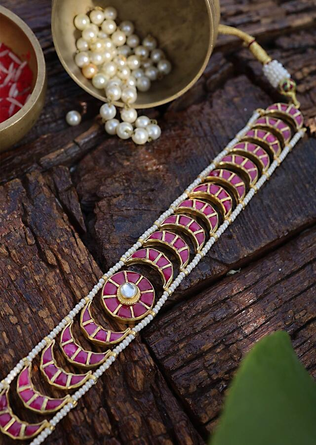 Ruby Red Choker Necklace In Moon Shape Lined With Pearls On The Edges By Paisley Pop