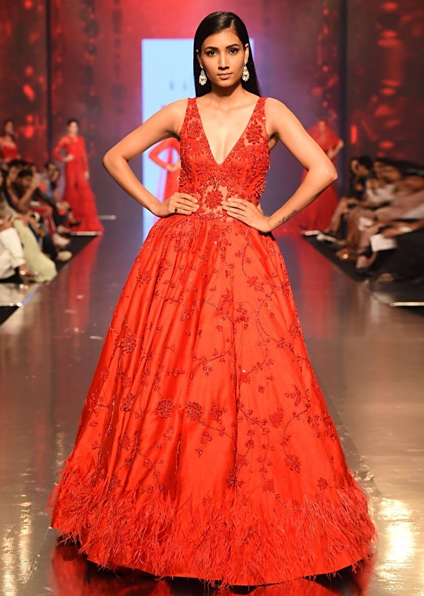 1628be8eb40 Ruby red deep V neck embroidered net gown with feather hem only on  KalkiMore Detail