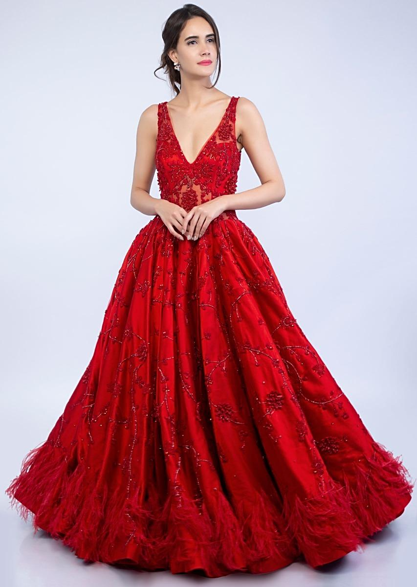 825c7ec5e437 Ruby red deep V neck embroidered net gown with feather hem only on Kalki