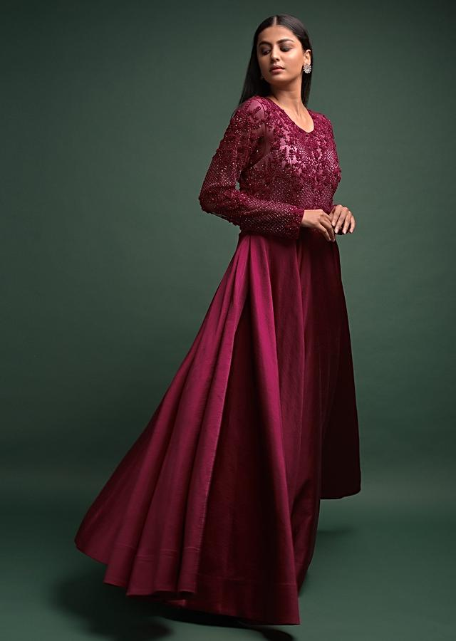 Ruby Red Gown In Milano Satin With Embellished Bodice Online - Kalki Fashion
