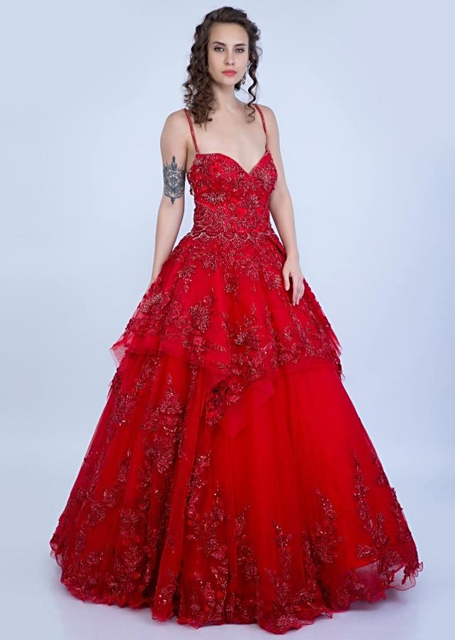 Ruby Red Strap Gown With Handkerchief Cut And Embroidery Online - Kalki Fashion