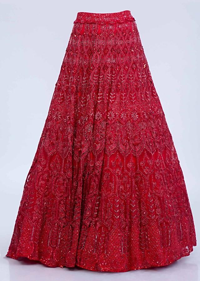 Ruby Red Lehenga Set With Heavy Embroidery In Floral And Temple Motif Online - Kalki Fashion