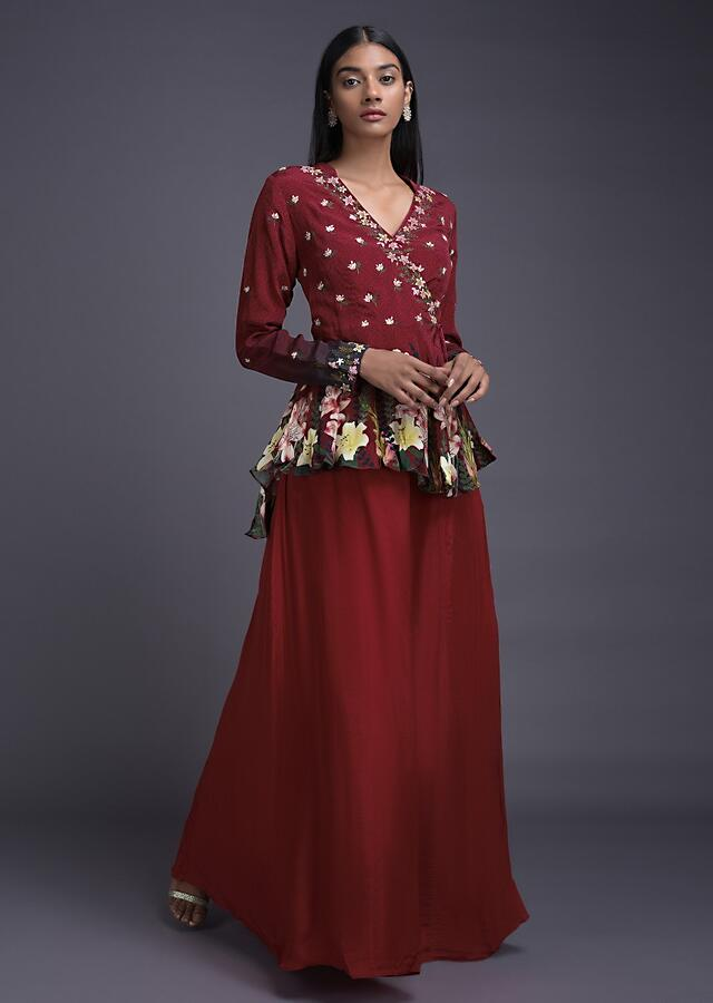 Ruby Red Lehenga And Peplum Top In Angrakha Style With Floral Print And Embroidery Online - Kalki Fashion