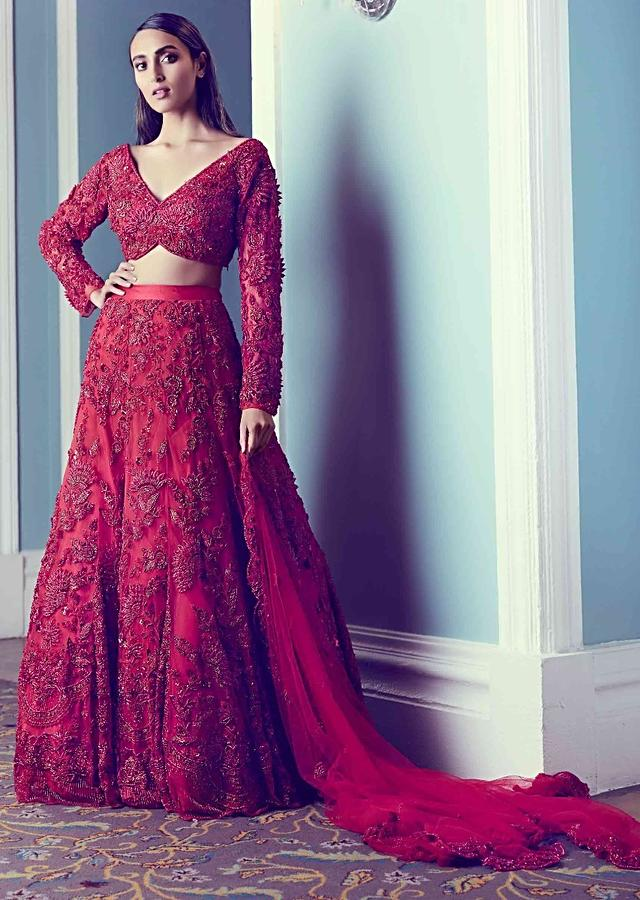 Ruby Red Lehenga In Embellished Net Fabric With 3D Floral Pattern Online - Kalki Fashion