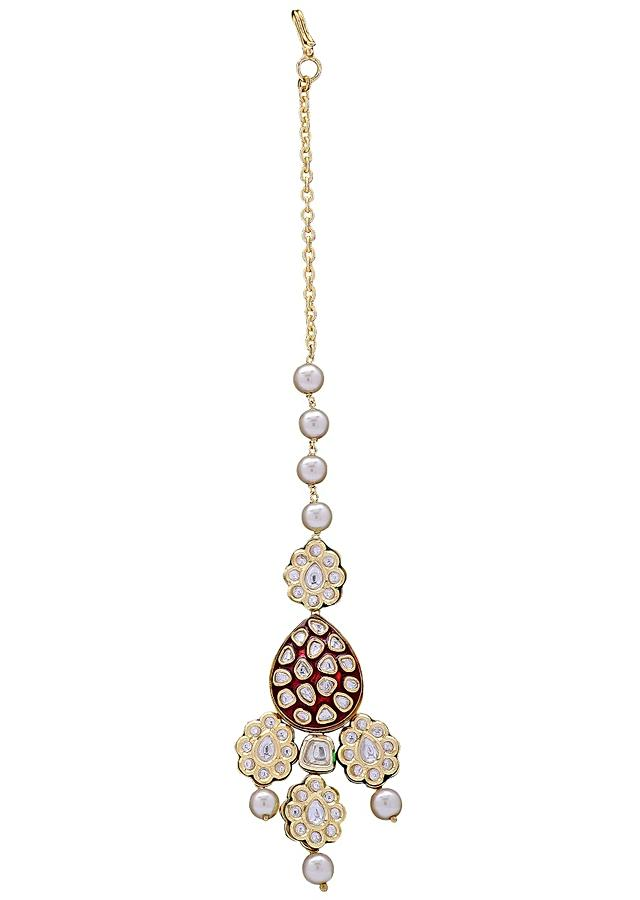 Ruby Red Maang Tikka With Pearls And Kundan In Floral Design Online - Joules By Radhika