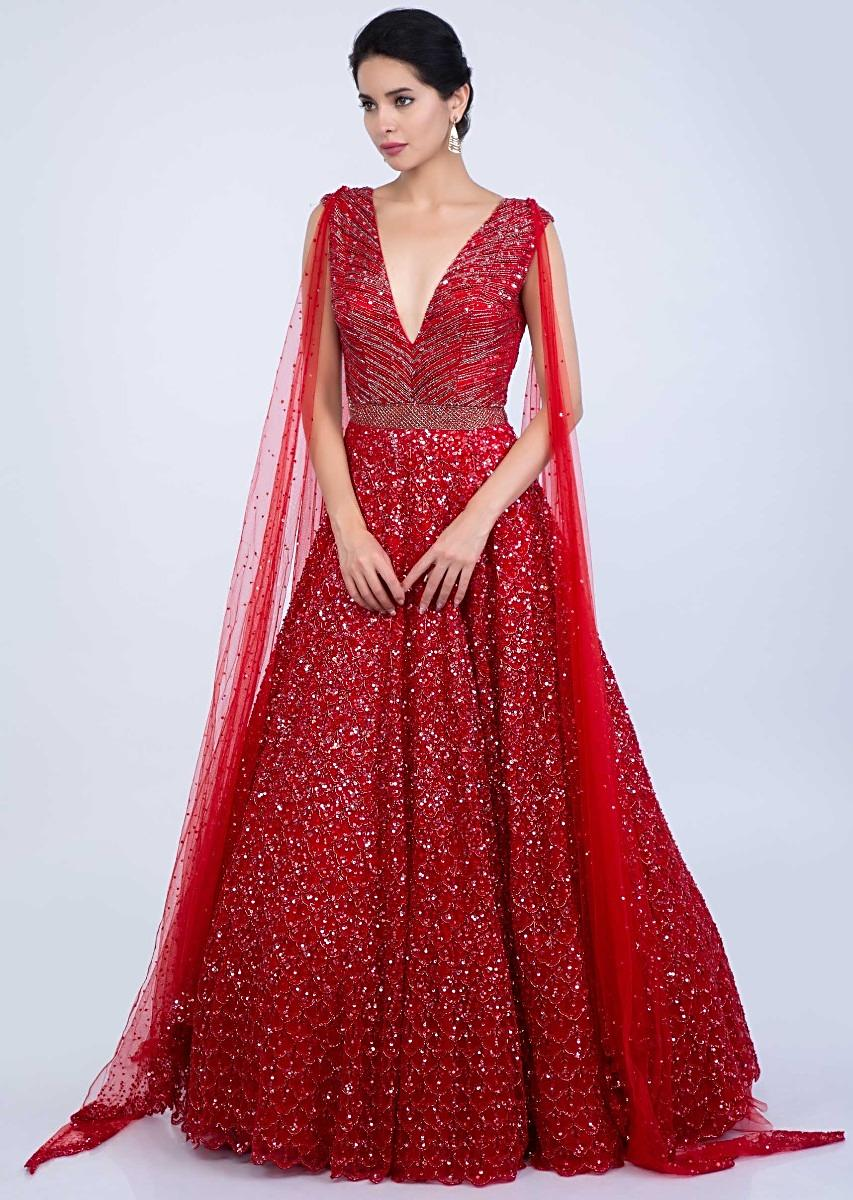 48cf517a0d8 Ruby red shimmer net gown with 4 side drape only on Kalki
