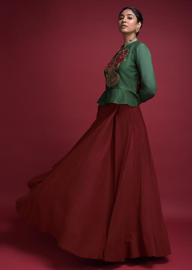 Ruby Red Skirt And Fern Green Peplum Top In Raw Silk With Embroidered Flower Pot Motif Online - Kalki Fashion