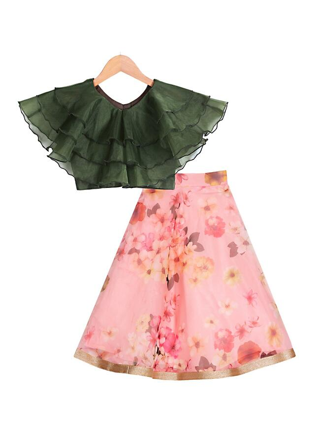 Ruffle olive top with floral printed pink organza lehenga Online - Free Sparrow