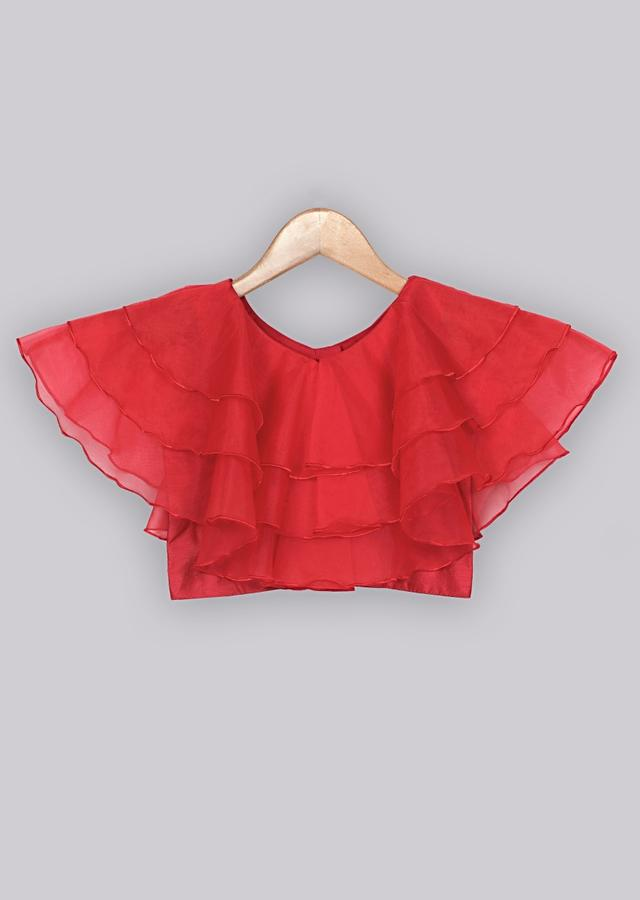 Ruffle red top with floral printed beige organza lehenga Online - Free Sparrow