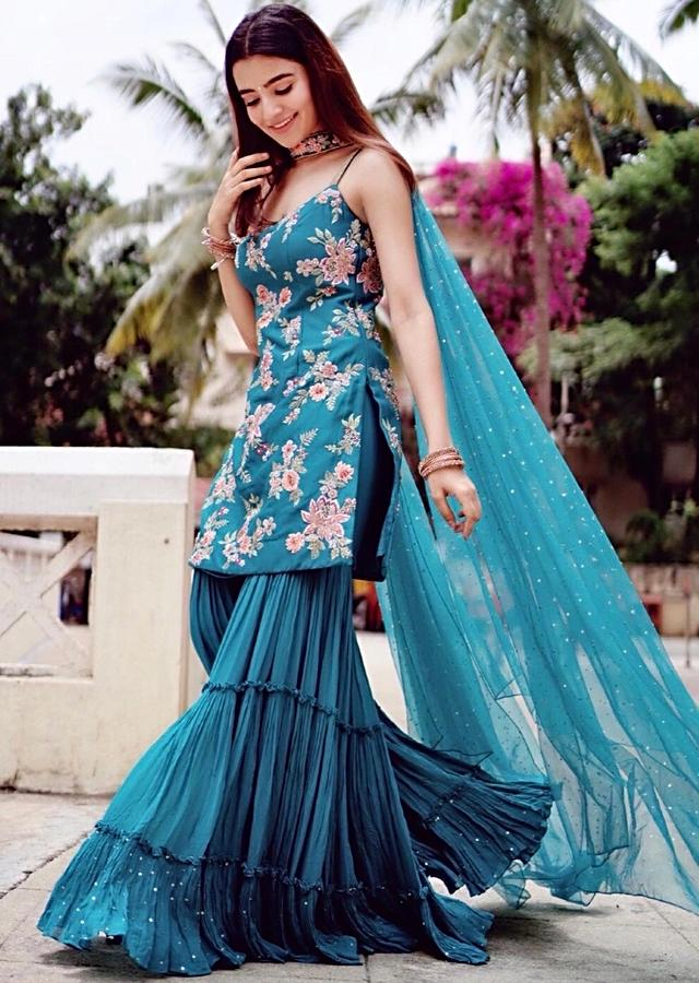 Rukshar Dhillon In Kalki Teal Sharara Suit Set Embellished With Floral Motif Hand In Embroidery
