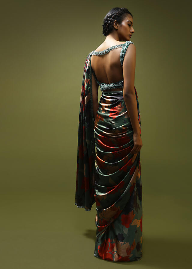 Russian Green Ready Pleated Saree In Satin With Multi Colored Tropical Print And Cut Dana Embroidered Blouse Online - Kalki Fashion