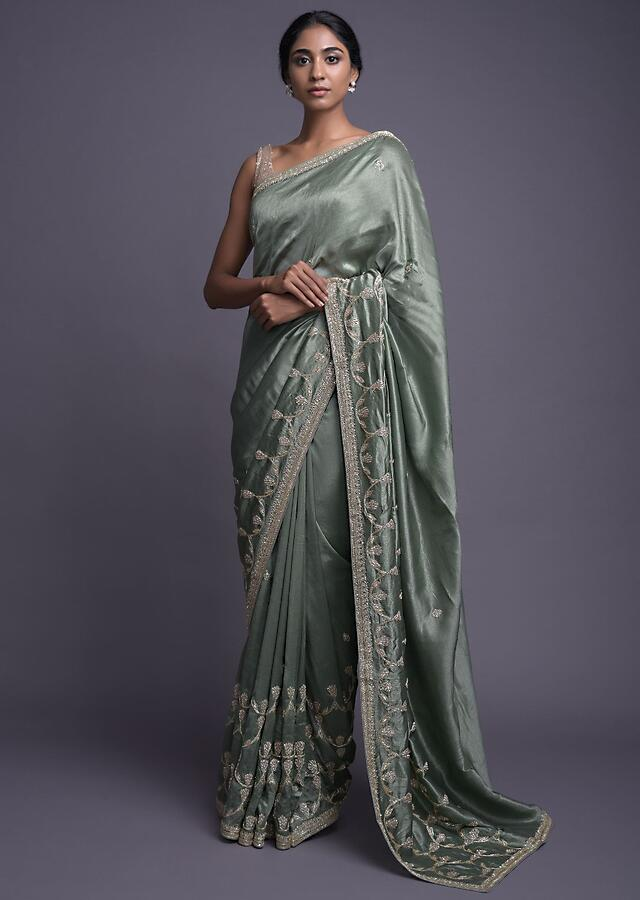 Russian Green Saree In Dupion With Embellished Buttis And Scalloped Border Online - Kalki Fashion