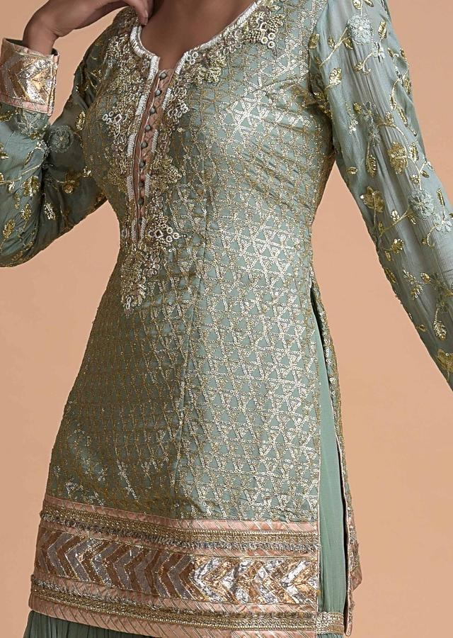 Russian Green Sharara Suit With Heavy Sequins And Gotta Patch Embroidery Online - Kalki Fashion