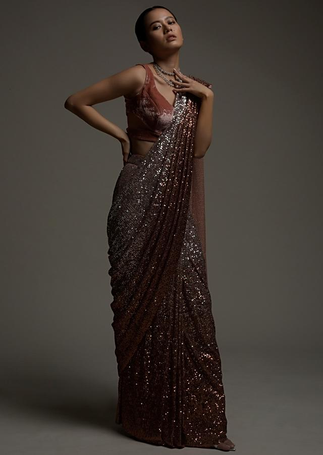Rust And Silver Ombre Ready Pleated Saree In Sequins Fabric And Rust Velvet Blouse With Cut Outs On The Side Online - Kalki Fashion