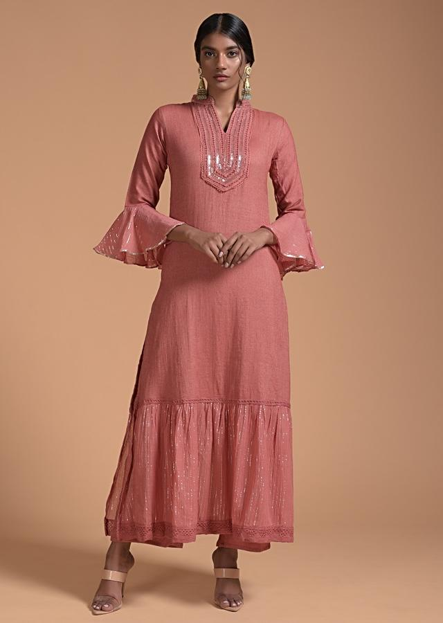 Rust Brown Palazzo Suit With Mirror Embroidered Yoke And Frill On The Hem Online - Kalki Fashion