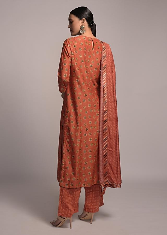 Rust Colored Straight Cut Kurta Set With Printed Buttis And Palazzo Pants Online - Kalki Fashion
