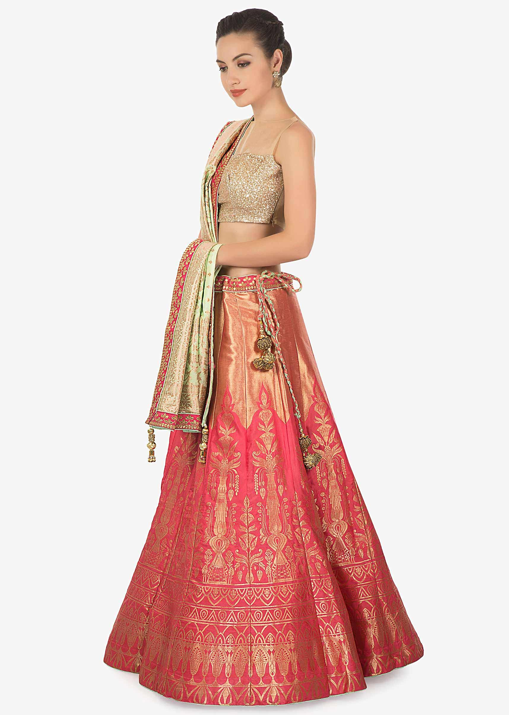 dc1f3c66e7 Rust gold brocade silk lehenga with pista green brocade dupatta only on kalkiMore  Detail
